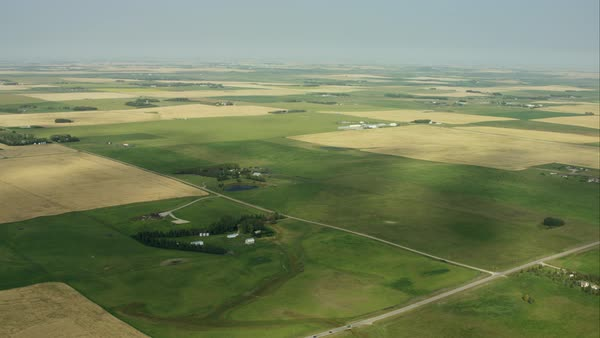 An aerial view of the vast farm land in Alberta Royalty-free stock video