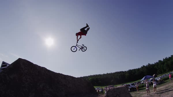 Extreme Sport BMX rider doing stunts and tricks on a bicycle Royalty-free stock video