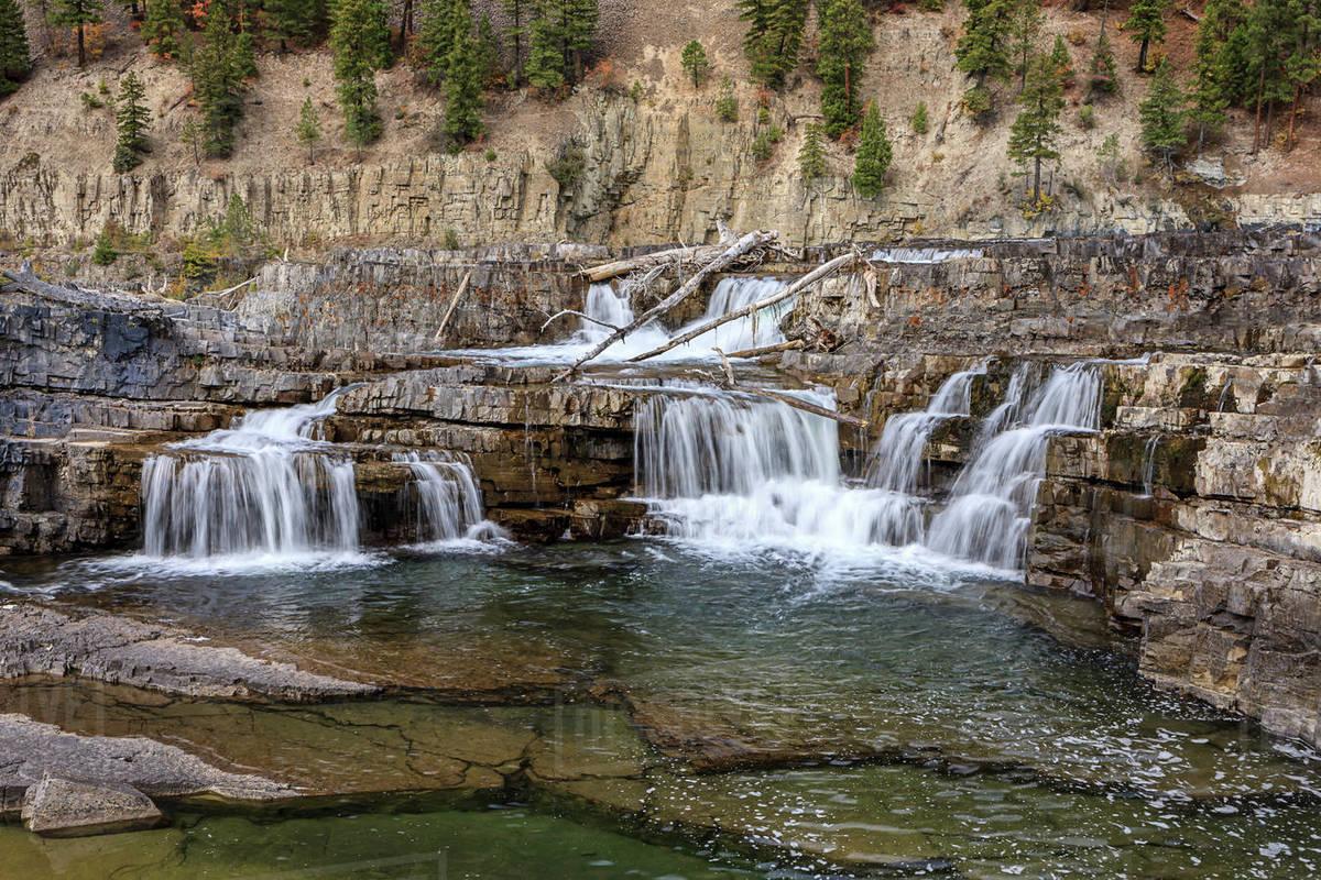 The Kootenai River Falls  during low water in autumn near Libby, Montana Royalty-free stock photo