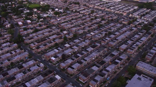 Aerial view row houses in Philadelphia, Pennsylvania Royalty-free stock video