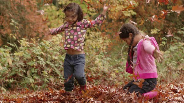 Two young girls in Fall throwing pile of leaves Royalty-free stock video
