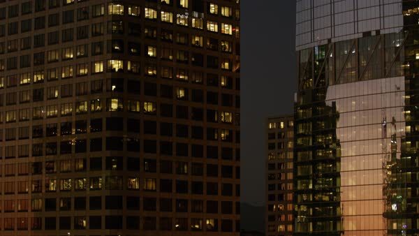 City buildings at night in downtown Los Angeles Royalty-free stock video