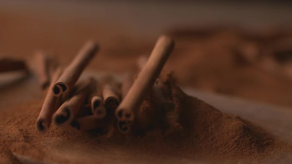 Cinnamon sticks falling into powdered cinnamon in super slow motion Royalty-free stock video