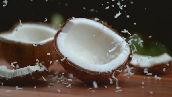 Shredded Coconut falling in super slow motion Royalty-free stock video