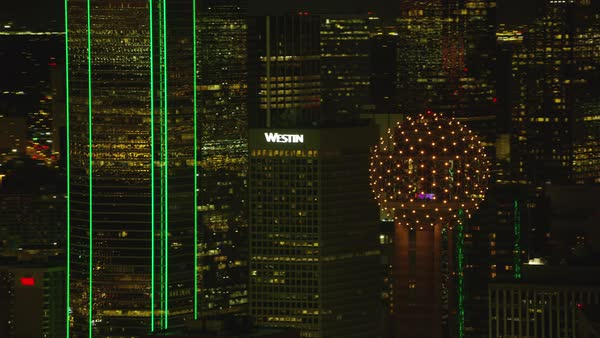 Aerial view of Reunion Tower ball and Dallas Texas at night Royalty-free stock video