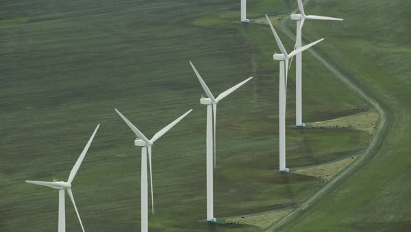 Close-up aerial view of wind turbines Royalty-free stock video