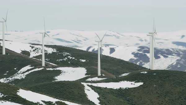 Aerial view of wind turbines in winter Royalty-free stock video