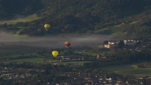 Aerial view of hot air balloons over Napa Valley, California Royalty-free stock video