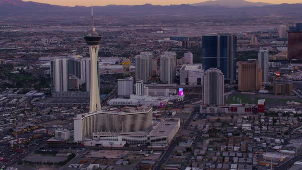 Aerial view of Las Vegas Strip at sunset.   Royalty-free stock video