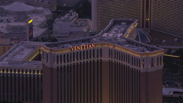 Aerial view the Venetian hotel and casino on the Las Vegas Strip.   Royalty-free stock video