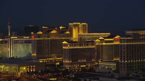Aerial view of Casinos on the Las Vegas Strip.   Royalty-free stock video