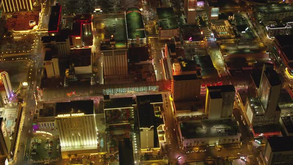 Aerial view of downtown Freemont Street Las Vegas at night.   Royalty-free stock video