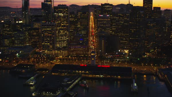 Approach and fly over ferry building and Port of San Francisco Royalty-free stock video