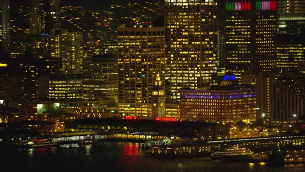 Aerial view of port and ferry building at night Royalty-free stock video