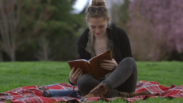 Young woman at park sitting on blanket looking at book Royalty-free stock video