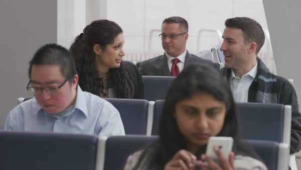 Business people waiting at airport Royalty-free stock video