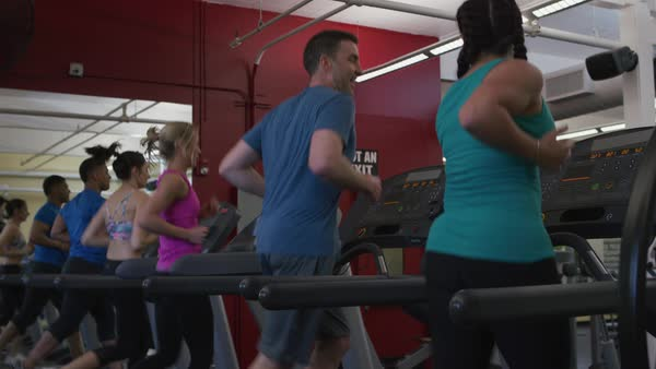 People running on treadmills at gym Royalty-free stock video