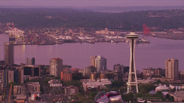 Aerial view of Space Needle and Port of Seattle at dawn.   Royalty-free stock video