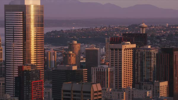 Aerial view of Seattle and Space Needle at sunrise.   Royalty-free stock video