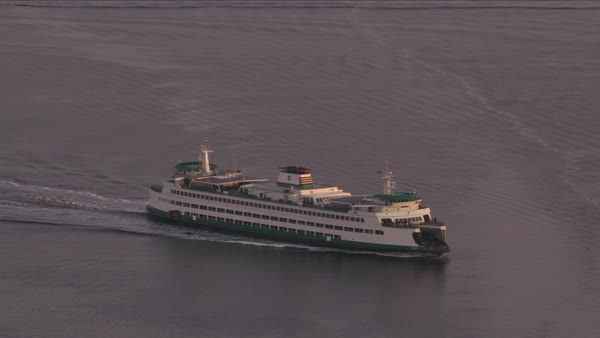 Aerial view of ferry in Puget Sound by Seattle at sunrise.   Royalty-free stock video