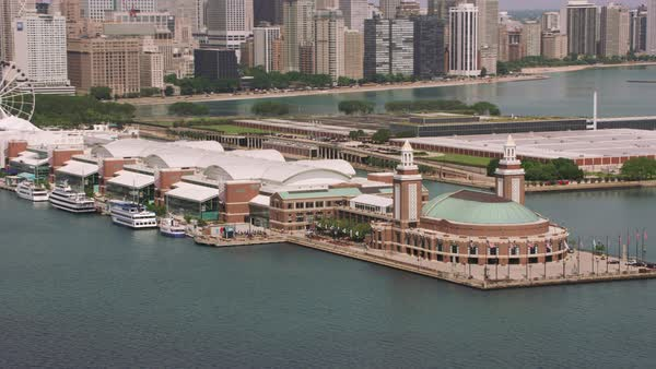 Aerial shot of Navy Pier in downtown Chicago.   Royalty-free stock video