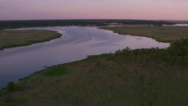 Aerial view of Mullica River in New Jersey.   Royalty-free stock video