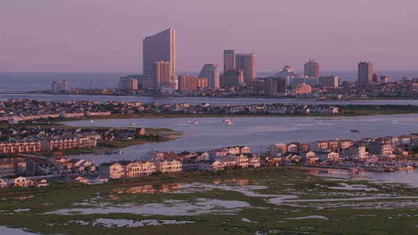 Aerial view of homes with Atlantic City in distance.   Royalty-free stock video