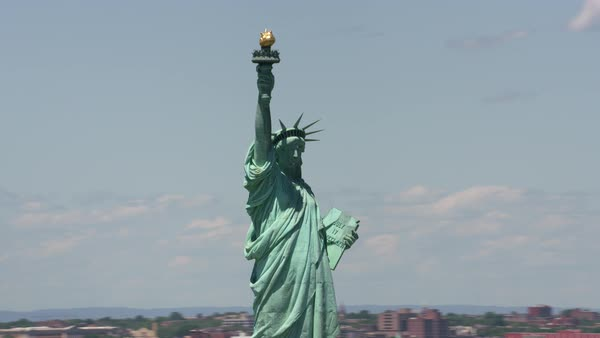 Aerial view of Statue of Liberty and Manhattan.   Royalty-free stock video