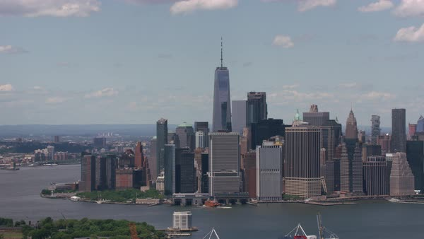 Aerial shot of lower Manhattan and Governors Island.   Royalty-free stock video
