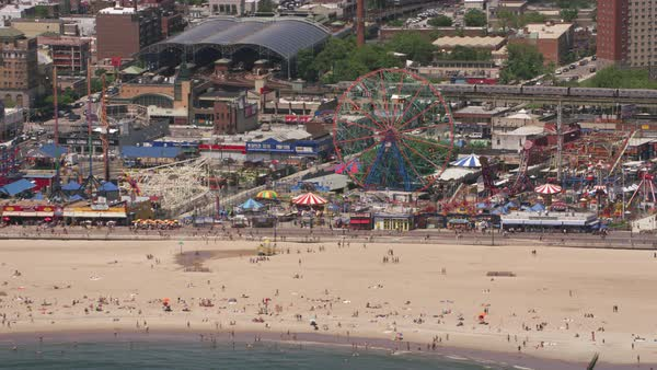 Aerial shot Coney Island.   Royalty-free stock video