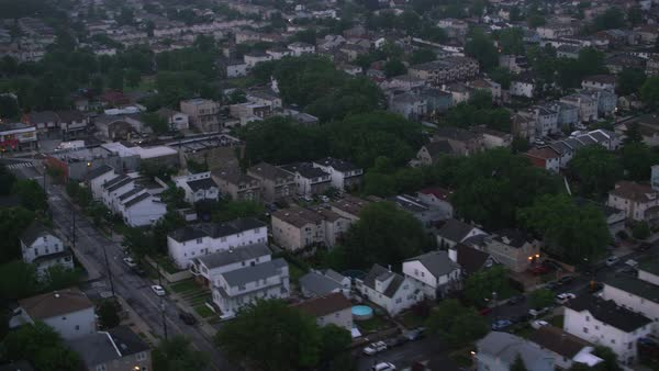 Aerial view of Staten Island neighborhood in early morning.   Royalty-free stock video