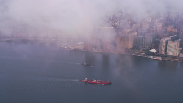 Aerial view of barges on the Hudson River.   Royalty-free stock video
