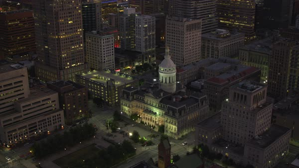 Aerial view of Baltimore City Hall at night.   Royalty-free stock video