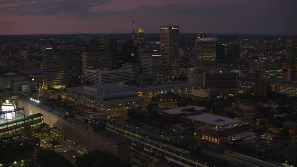 Aerial view of downtown Baltimore and Oriole Park at sunset.   Royalty-free stock video