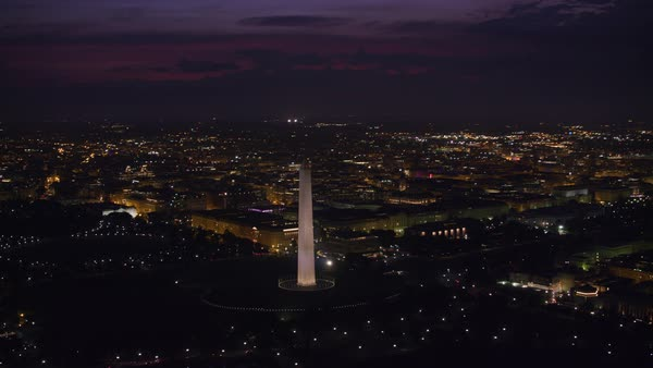 Early morning shot of Washington Monument and city lights.   Royalty-free stock video