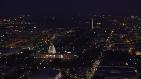 Aerial view of the Lincoln Memorial, Washington Monument and Capitol Building at night.   Royalty-free stock video