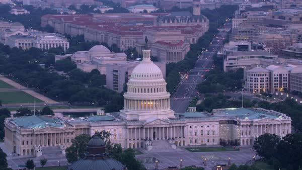 Aerial view of Capitol Building and Pennsylvania Avenue.   Royalty-free stock video