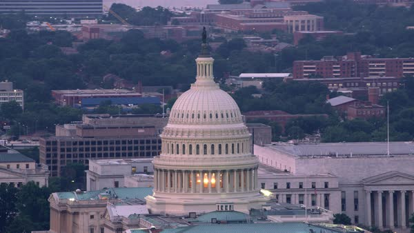 Close-up aerial view of the Capital Dome and Washington D.C.   Royalty-free stock video