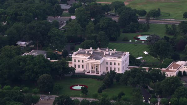 Aerial view of White House, home to the President of the United States.   Royalty-free stock video