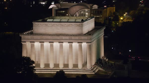 Aerial view of Lincoln Memorial at night.   Royalty-free stock video