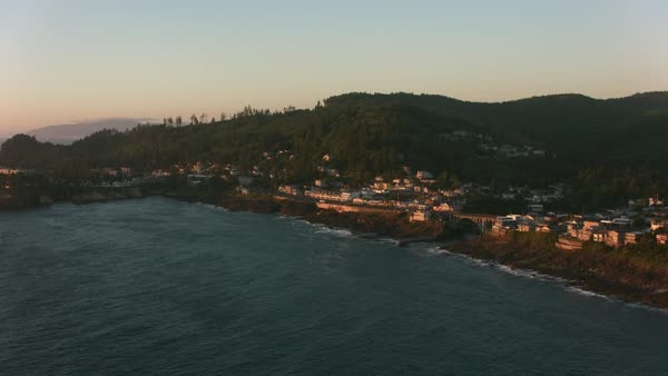 Aerial shot of Depoe Bay, Oregon at sunset.   Royalty-free stock video