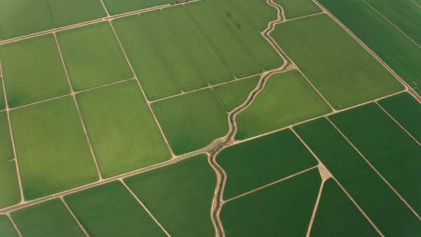 Aerial view of beautiful green farmlands.   Royalty-free stock video
