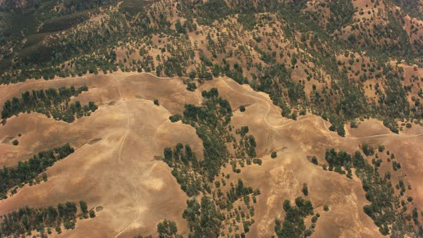 Aerial view of mountainous terrain in California.   Royalty-free stock video