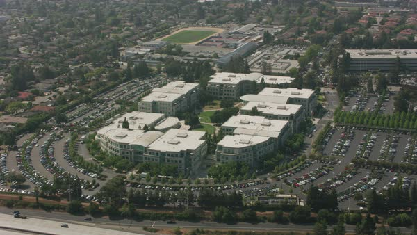 Aerial shot of Apple Campus.   Royalty-free stock video