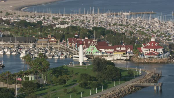 Aerial shot of Rainbow Lighthouse in Long Beach.   Royalty-free stock video