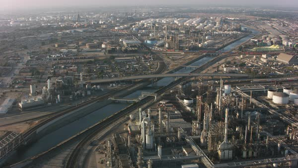 Aerial shot of Long Beach industrial area.   Royalty-free stock video