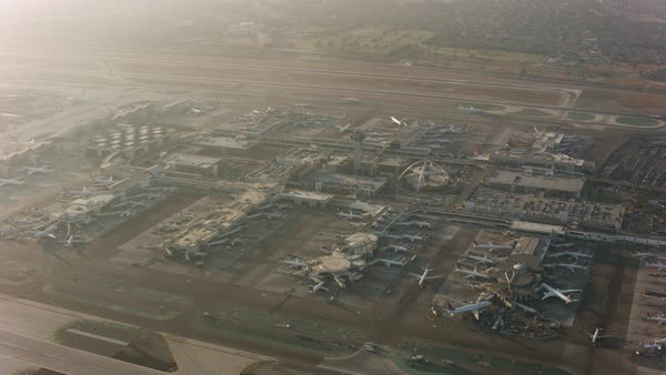 Aerial shot of LAX International Airport.   Royalty-free stock video