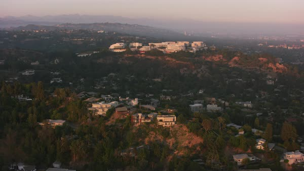 Aerial shot of Getty Museum.   Royalty-free stock video