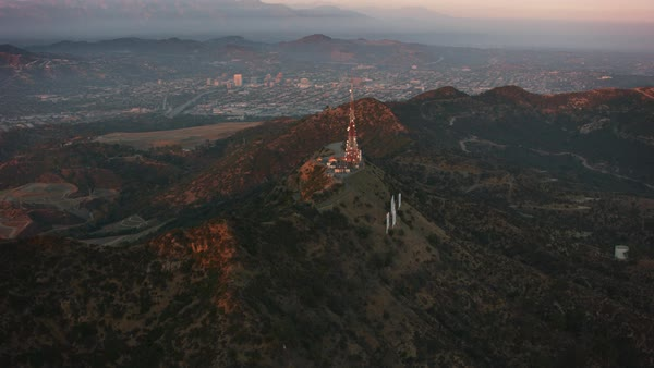Aerial view of Los Angeles from behind the Hollywood sign.   Royalty-free stock video