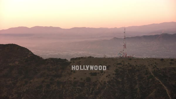 Aerial the Hollywood Sign at sunset.   Royalty-free stock video
